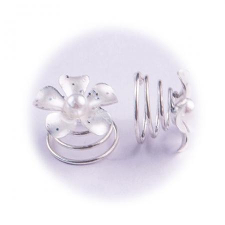 A&A Haarspirale Blume / Glitter / Perle silber