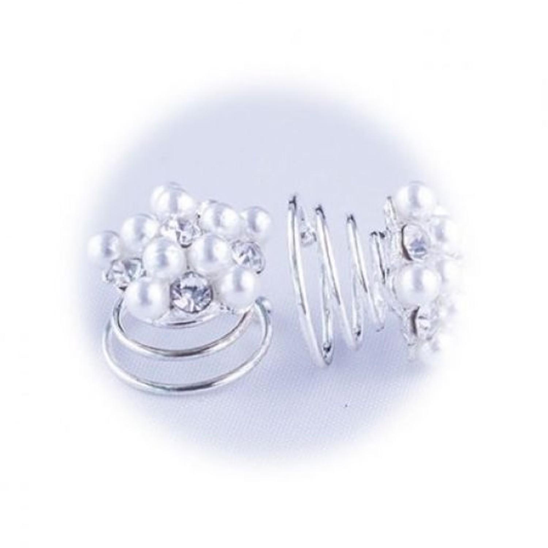A&A Haarspirale Perlen + Strass klein