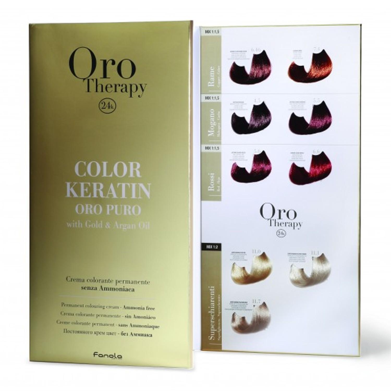 Fanola ORO PURO Therapy Color Keratin Farbkarte groß