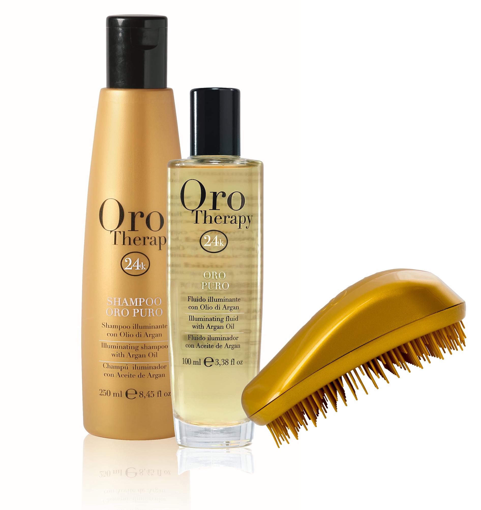 Fanola Set: ORO PURO Therapy Shampoo 300 ml & ORO PURO Therapy Fluid 100 ml + GRATIS Dessata Bürste