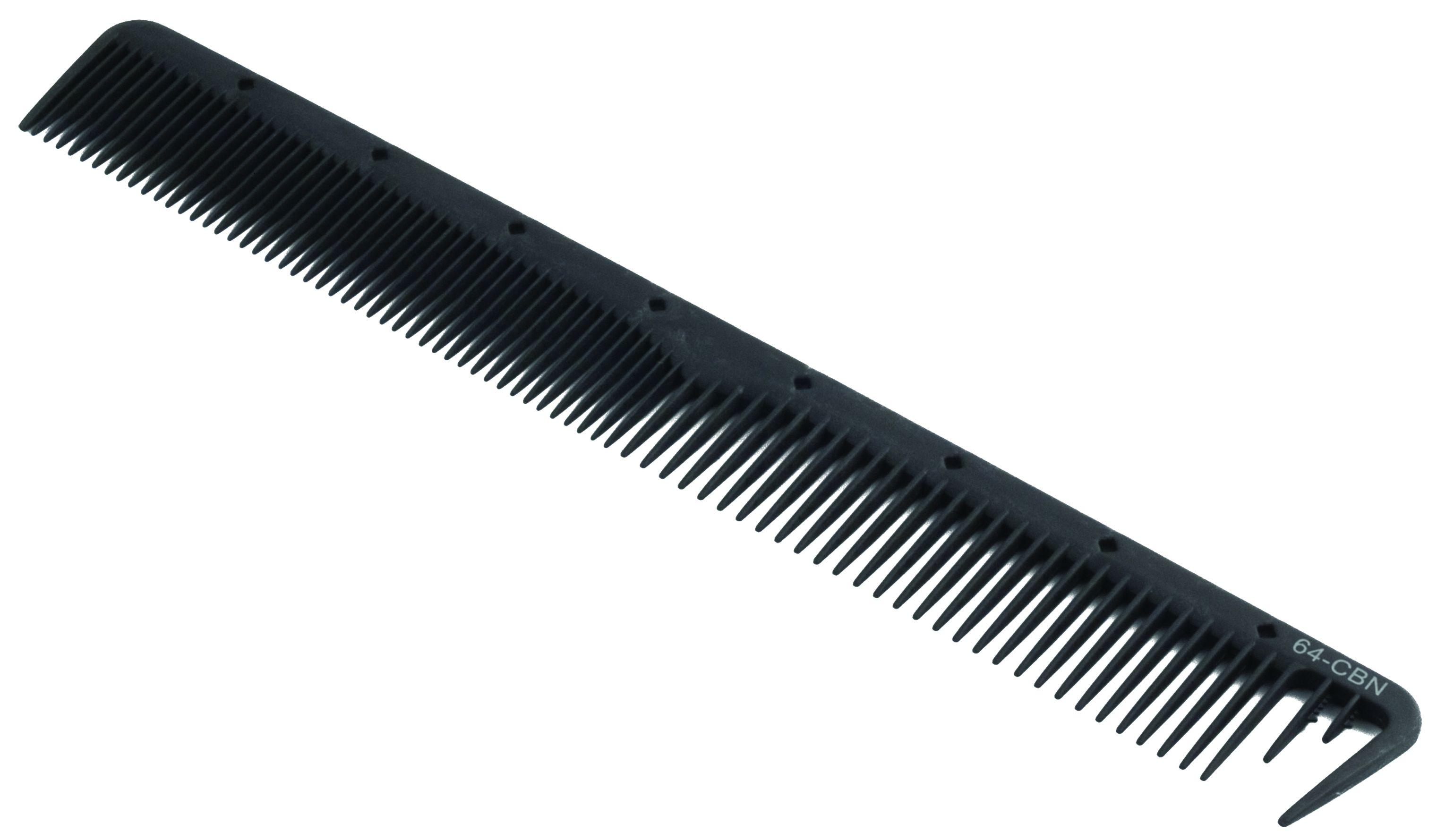 KANSAI Carbon Haarschneidekamm weit gezahnt mit Abteilung